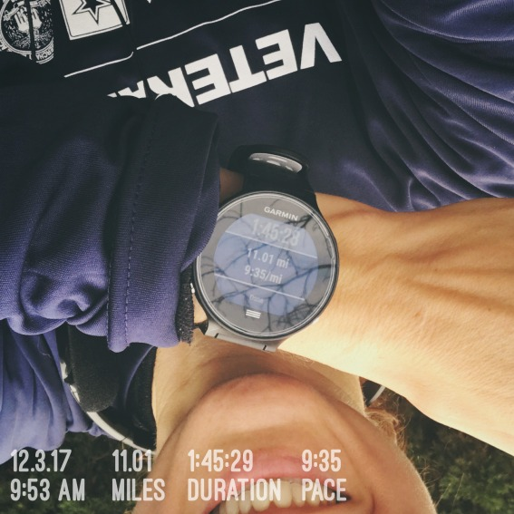 A selfie with my Garmin after I ran 11 miles