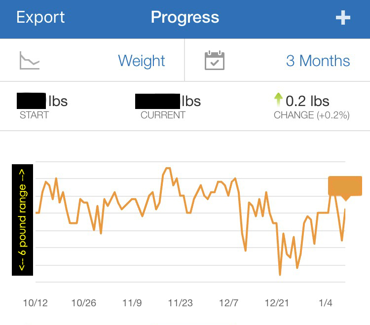 3 month weight tracking